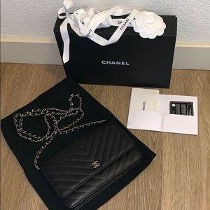 Authentic Chanel WOC chevron caviar